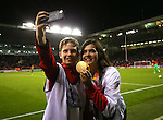 Ballboys take selfies with paralympic Grace Clough during the League One match at Bramall Lane Stadium, Sheffield. Picture date: September 27th, 2016. Pic Simon Bellis/Sportimage