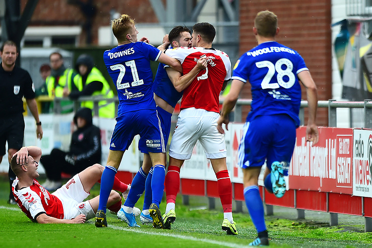 Fleetwood Town's Danny Andrew clashes with Ipswich Town's Gwion Edwards<br /> <br /> Photographer Richard Martin-Roberts/CameraSport<br /> <br /> The EFL Sky Bet League One - Fleetwood Town v Ipswich Town - Saturday 5th October 2019 - Highbury Stadium - Fleetwood<br /> <br /> World Copyright © 2019 CameraSport. All rights reserved. 43 Linden Ave. Countesthorpe. Leicester. England. LE8 5PG - Tel: +44 (0) 116 277 4147 - admin@camerasport.com - www.camerasport.com