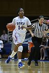 08 February 2015: Duke's Ka'lia Johnson. The Duke University Blue Devils hosted the Clemson University Tigers at Cameron Indoor Stadium in Durham, North Carolina in a 2014-15 NCAA Division I Women's Basketball game. Duke won the game 89-60.