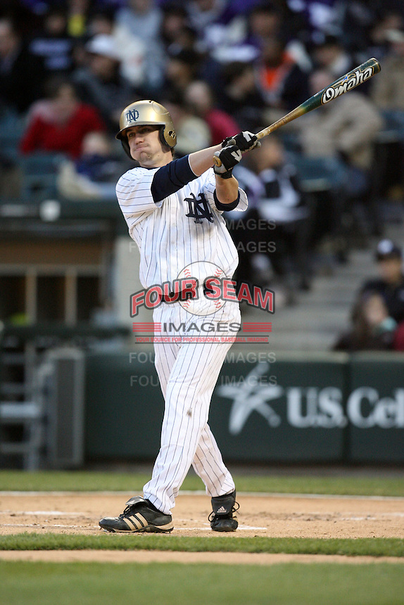 April 15, 2009: Brayden Ashdown (12) of the Notre Dame Fighting Irish at US Cellular Field in Chicago, IL.  Photo by:  Chris Proctor/Four Seam Images