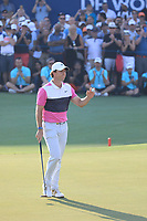 Rory McIlroy (NIR) in action on the 18th green during the final round of the DP World Championship, Earth Course, Jumeirah Golf Estates, Dubai, UAE. 24/11/2019<br /> Picture: Golffile | Phil INGLIS<br /> <br /> <br /> All photo usage must carry mandatory copyright credit (© Golffile | Phil INGLIS)