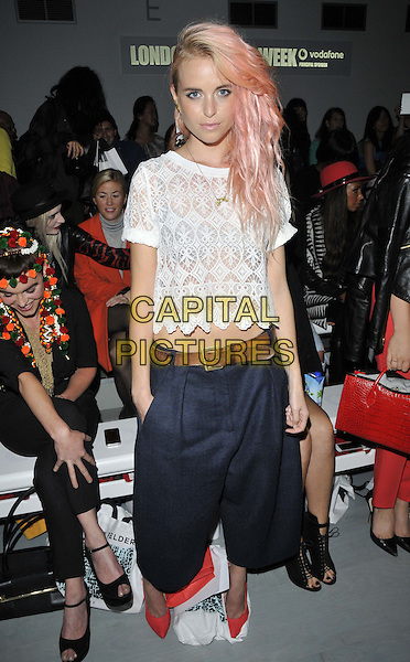 LONDON, ENGLAND - SEPTEMBER 12: Kyla La Grange attends the Felder Felder S/S15 catwalk show, LFW Day 1, BFC Showspace, Somerset House  the Strand, on Friday September 12, 2014 in London, England, UK. <br /> CAP/CAN<br /> &copy;Can Nguyen/Capital Pictures