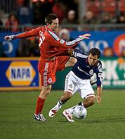 22 April 2009: Chivas USA defender Jonathan Bornstein #13 and Toronto FC midfielder Sam Cronin #2 in action at BMO Field in a MLS game between Chivas USA and Toronto FC.Toronto FC won 1-0. .