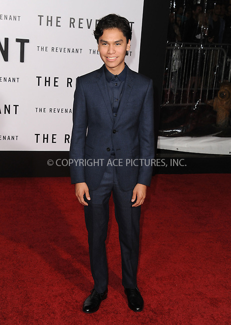 WWW.ACEPIXS.COM<br /> <br /> December 16 2015, LA<br /> <br /> Forrest Goodluck arriving at the premiere of 'The Revenant' at the TCL Chinese Theatre on December 16, 2015 in Hollywood, California.<br /> <br /> <br /> By Line: Peter West/ACE Pictures<br /> <br /> <br /> ACE Pictures, Inc.<br /> tel: 646 769 0430<br /> Email: info@acepixs.com<br /> www.acepixs.com