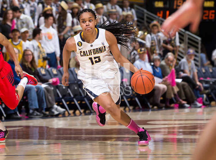 California's Brittany Boyd dribbles down the court during a  game against Arizona at Haas Pavilion in Berkeley, California on February 14th, 2014. California defeated Arizona 65 - 49