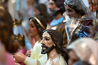 Jesus Christ statue for sale seen in a Catholic religious shop in Bogota, Colombia, May 27, 2010. About 80% of the population in Colombia identify themselves as followers of the Catholic religion. Colombians are among the most devout of Latin American Catholics. Colombian Catholic church is renowned as one of the most conservative and traditional in Latin America, having traditionally been associated with elite structures in the society.