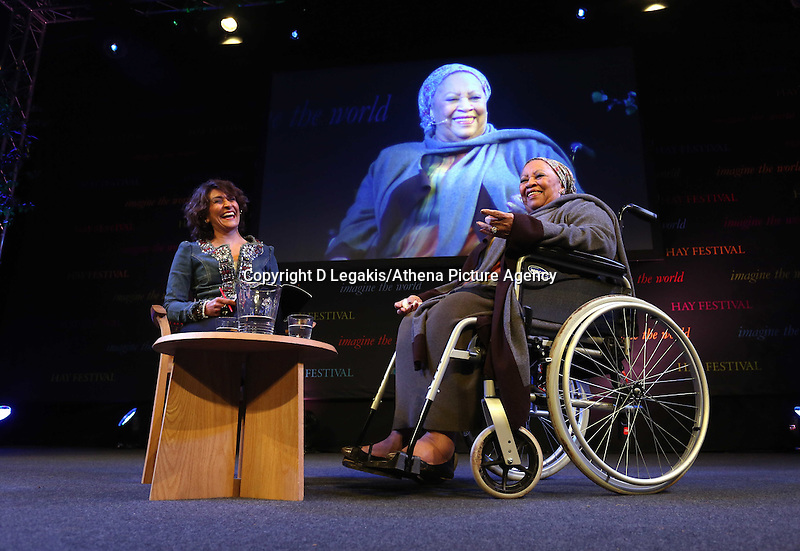Wednesday 28 May 2014, Hay on Wye, UK<br /> Pictured: American Nobel Laureate Toni Morrison (R) with Razia Iqbal (L)<br /> Re: The Hay Festival, Hay on Wye, Powys, Wales UK.