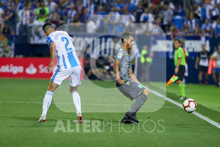 Leganes' Juan Francisco Moreno and Real Sociedad's Juan Miguel Jimenez during La Liga match. August 24, 2018. (ALTERPHOTOS/A. Perez Meca)