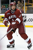 Alex Biega (Harvard - 3) - The Harvard University Crimson defeated the Northeastern University Huskies 3-1 on Monday, February 4, 2008, in the opening game of the 2008 Beanpot at TD Banknorth Garden in Boston, Massachusetts.
