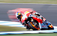 Honda MotoGP rider Dani Pedroza of Spain rides during the first practice session of the Australian Motorcycle GP in Phillip Island, Oct 18, 2013. Photo by Daniel Munoz/VIEWpress IMAGE RESTRICTED TO EDITORIAL USE ONLY- STRICTLY NO COMMERCIAL USE.