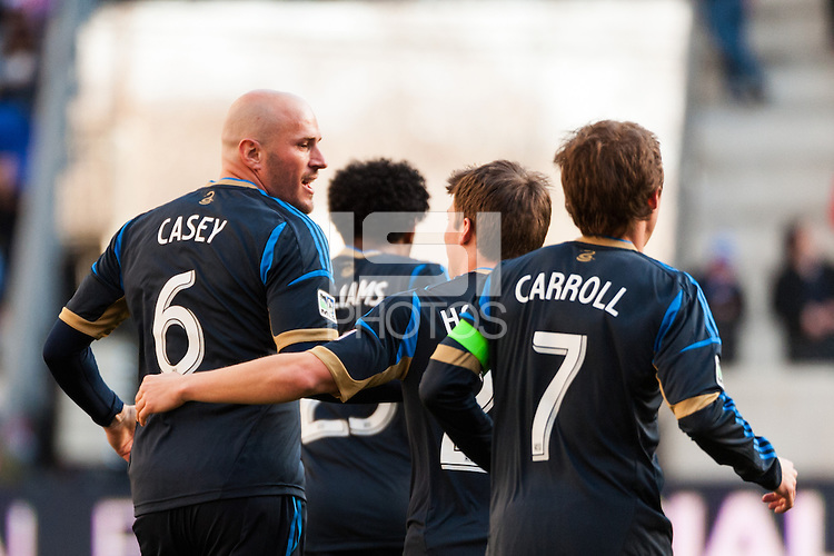 Conor Casey (6) of the Philadelphia Union celebrates scoring with teammates. The New York Red Bulls defeated the Philadelphia Union 2-1 during a Major League Soccer (MLS) match at Red Bull Arena in Harrison, NJ, on March 30, 2013.