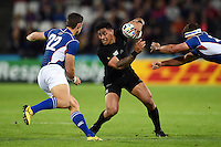 Malakai Fekitoa of New Zealand takes on the Namibia defence. Rugby World Cup Pool C match between New Zealand and Namibia on September 24, 2015 at The Stadium, Queen Elizabeth Olympic Park in London, England. Photo by: Patrick Khachfe / Onside Images