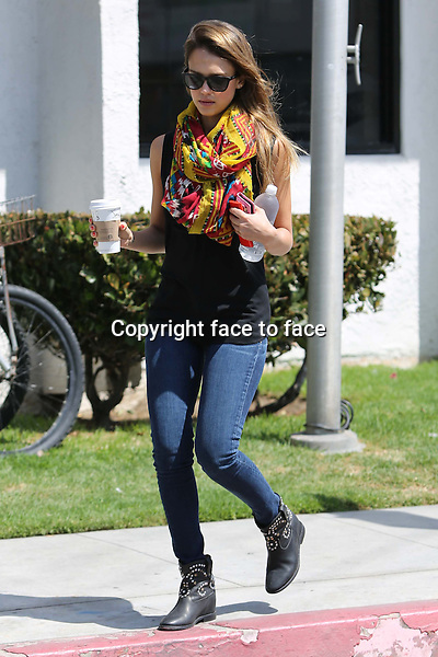 Actress Jessica Alba seen leaving a friends house in Venice Beach. She looks very colourful with her long scarf. Credit: Vida/face to face<br /> May 31th 2013