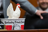 A bucket of Kentucky Fried Chicken belonging Representative Steve Cohen, Democrat of Tennessee, sits non the dais prior to a hearing scheduled for Attorney General William Barr to testify about the Mueller Report before the United States House or Representatives Judiciary Committee on Capitol Hill in Washington, D.C. on May 2, 2019. Credit: Alex Edelman / CNP