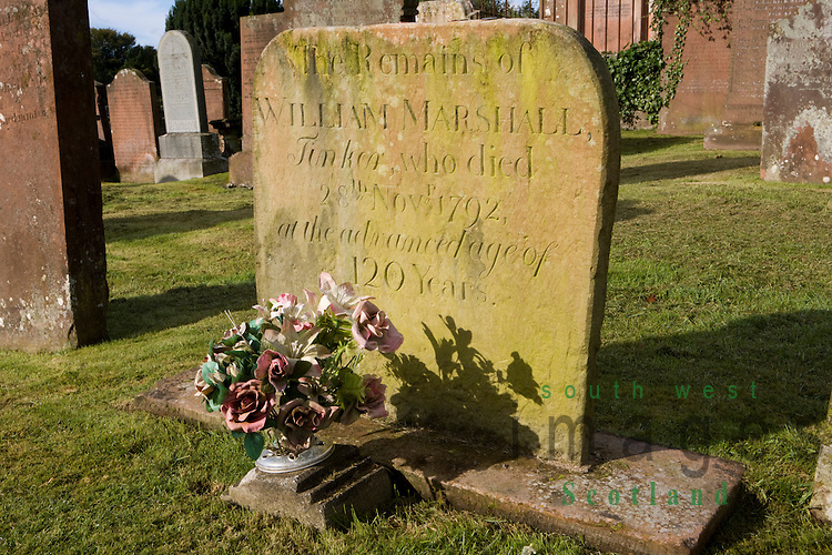 William Marshall or Billy Marshall (1672-1792) Scottsih King of the Gypsies reputedly lived to 120 years of age gravestone in St Cuthberts graveyard Kirkcudbright Scotland UK
