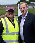 2-7-2017: Taoiseach Enda Kenny chats with Seamie Doherty at the Kerry V Cork Munster Football final in Killarney on Sunday.<br /> Photo: Don MacMonagle