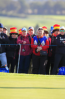 Some Spanish support for Azahara Munoz of Team Europe on the 7th green during Day 1 Foursomes at the Solheim Cup 2019, Gleneagles Golf CLub, Auchterarder, Perthshire, Scotland. 13/09/2019.<br /> Picture Thos Caffrey / Golffile.ie<br /> <br /> All photo usage must carry mandatory copyright credit (© Golffile | Thos Caffrey)