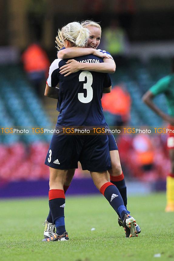 Sophie Bradley of GB congratulates Steph Houghton on scoring the third goal - Great Britain Women vs Cameroon - Womens Olympic Football Tournament London 2012 Group E at the Millenium Stadium, Cardiff, Wales - 28/07/12 - MANDATORY CREDIT: Gavin Ellis/SHEKICKS/TGSPHOTO - Self billing applies where appropriate - 0845 094 6026 - contact@tgsphoto.co.uk - NO UNPAID USE.