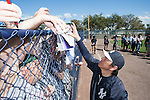 Hideki Matsui (Yankees),<br /> FEBRUARY 20, 2014 - MLB :<br /> New York Yankees' guest instructor Hideki Matsui signs autographs for fans during the New York Yankees spring training camp at George M. Steinbrenner Field in Tampa, Florida, United States. (Photo by Thomas Anderson/AFLO) (JAPANESE NEWSPAPER OUT)