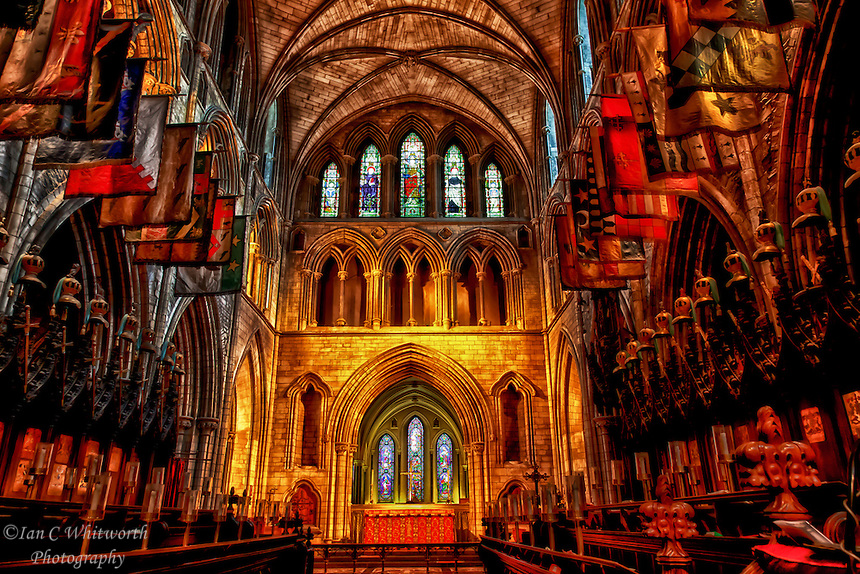 A view inside the beautiful St. Patrick's Cathedral in Dublin.