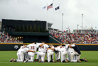 Virginia gathers in the outfield prior to their game against South Carolina on June 21. South Carolina beat Virginia 7-1 at the 2011 College World Series in Omaha, Neb. (Photo by Michelle Bishop)..