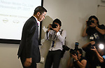 November 8, 2017, Yokohama, Japan - Japanese automobile giant Nissan Motor president Hiroto Saikawa leaves a press conference after he announced the company's first half financial result and the new midterm business strategy at the Nissan headquarters in Yokohama, suburban Tokyo on Wednesday, November 8, 2017. Saikawa apologized that the company carried out flawed inspections of their vehicles.    (Photo by Yoshio Tsunoda/AFLO) LWX -ytd-