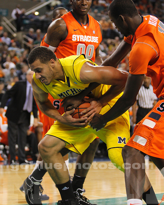 University of Michigan men's basketball 53-50 loss to #9 Syracuse at the Legends Classic semifinal round in Atlantic City, NJ, on November 26, 2010.