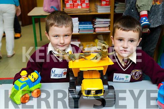 Marseille Rutkowski and Adam Moriarty, pictured on their first day of school at Holy Family National School, Tralee, on Wednesday morning last.