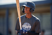 New York Yankees Alexander Vargas (19) during an Instructional League intrasquad game on September 27, 2019 at New York Yankees Minor League Complex in Tampa, Florida.  (Mike Janes/Four Seam Images)