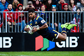 June 3rd 2017, AMI Stadium, Christchurch, New Zealand; Super Rugby; Crusaders versus Highlanders;  Waisake Naholo of the Highlanders scores a try during the Super Rugby match