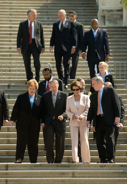 From left, Sen. Debbie Stabenow, D-Mich., Sen. Harry Reid, D-Nev., Rep. Nancy Pelosi, D-Calif., and Sen. Dick Durbin, D-Ill., arrive for the Democrats' kick-off event for the Golden Promise Campiagn to protect Social Security on the west lawn of the Capitol, Thursday, Sept. 7, 2006. Senate and House Democrats signed a large poster during the event, attended by hundreds of seniors and AFSCME labor union members,  promising to protect Social Security.