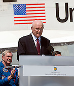 Former United States Senator John H. Glenn makes remarks at the ceremony where the Space Shuttle Discovery will be signed over to replace the Space Shuttle Enterprise at the Smithsonian Institution's Steven F. Udvar-Hazy Center in Chantilly, Virginia on Thursday, April 19, 2012.  .Credit: Ron Sachs / CNP..(RESTRICTION: NO New York or New Jersey Newspapers or newspapers within a 75 mile radius of New York City)