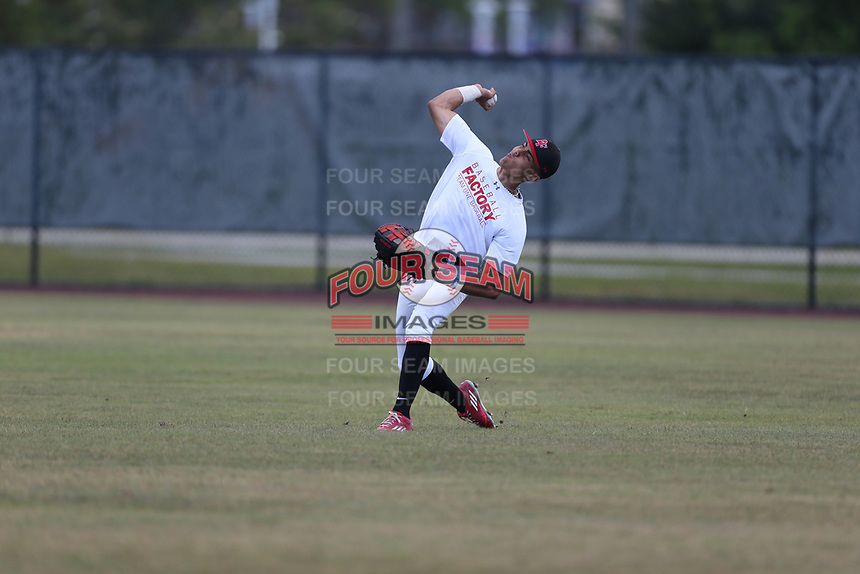 Daniel Maldonado (10) of Carlos Beltran Baseball Academy in Arecibo, Puerto Rico during the Under Armour Baseball Factory National Showcase, Florida, presented by Baseball Factory on June 13, 2018 the Joe DiMaggio Sports Complex in Clearwater, Florida.  (Nathan Ray/Four Seam Images)