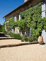 The facade of Jemima French's country house in Bergerac is covered in Virginia creeper