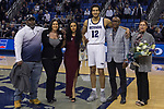 Nevada forward Johncarlos Reyes (12) with his family on Senior night after a basketball game against San Diego State played at Lawlor Events Center in Reno, Nev., Saturday, Feb. 29, 2020. (AP Photo/Tom R. Smedes)
