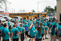 "Members gather for lunch during ""Circle the City with Service,"" the Kiwanis Circle K International's 2015 Large Scale Service Project, on Wednesday, June 24, 2015, in Indianapolis. (Photo by James Brosher)"