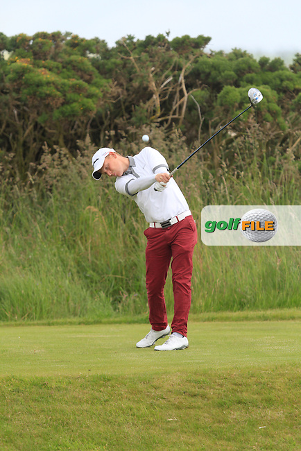 Geoff Lenehan (Portmarnock) on the 14th tee during Round 5 of the Irish Amateur Close Championship at Seapoint Golf Club on Tuesday 10th June 2014.<br /> Picture:  Thos Caffrey / www.golffile.ie