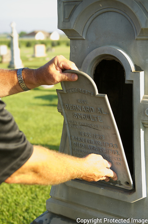In Templeton, Iowa, Bernard Schulte's tombstone was once used to store Prohibition whiskey to hind from the revenue agents. Now, Templetone Rye whiskey is made and sold legally.