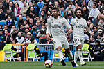 Real Madrid's Carlos Henrique Casemiro (L) and Marcelo Vieira (R) during La Liga match between Real Madrid and Athletic Club de Bilbao at Santiago Bernabeu Stadium in Madrid, Spain. April 21, 2019. (ALTERPHOTOS/A. Perez Meca)