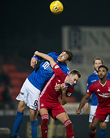 24th November 2019; McDairmid Park, Perth, Perth and Kinross, Scotland; Scottish Premiership Football, St Johnstone versus Aberdeen; Murray Davidson of St Johnstone competes in the air with Ryan Hedges of Aberdeen  - Editorial Use