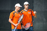 April 23, 2015; San Diego, CA, USA; Pepperdine Waves tennis players Pedro Iamachkine (left) and Lautaro Pane (right) during the WCC Tennis Championships at Barnes Tennis Center.