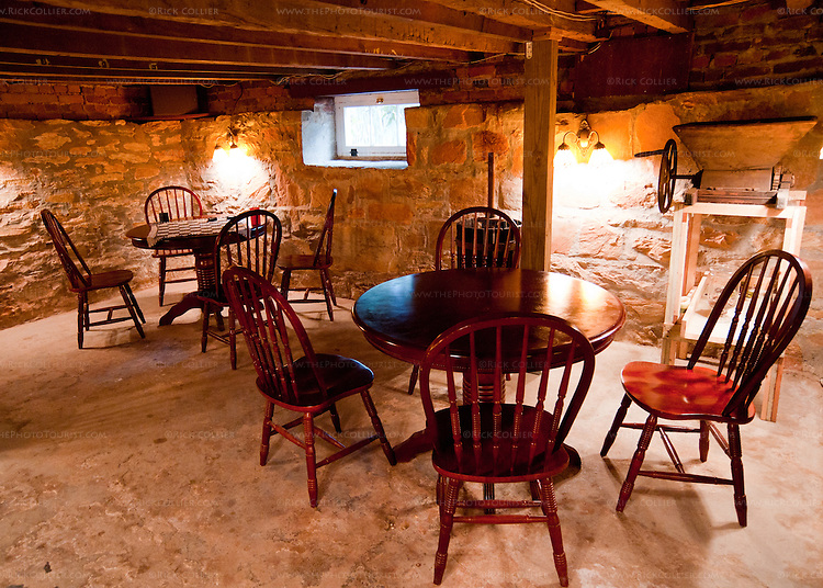 A basement lounge is used for events and as dining or sampling space, downstairs at the Winery at La Grange.