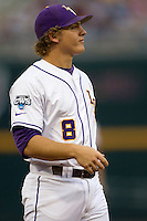 LSU Tiger first baseman Mason Katz (8) during Game 4 of the 2013 Men's College World Series against the UCLA Bruins on June 16, 2013 at TD Ameritrade Park in Omaha, Nebraska. UCLA defeated LSU 2-1. (Andrew Woolley/Four Seam Images)