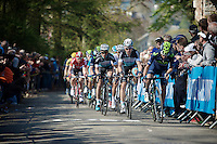 Tony Martin (DEU/Ettix-Quickstep) & Team, together with a Movistar rider, control the peloton up the infamous the Mur de Huy (1300m/9.8%)<br /> <br /> 79th Flèche Wallonne 2015