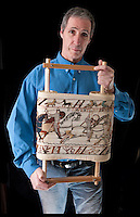 BNPS.co.uk (01202 558833).Pic: PeterWillows/BNPS..A Normans Conquest.....Norman nut Andy Wilkinson has spent an astonishing 18 year's sewing a 40ft long copy of the Bayeux Tapestry...Despite not having picked up a needle and thread before, Andy, a member of a historical reenactment group, started the project as a way of decorating his Norman tent during long wet weekends at festivals...But the increasingly large strip of embroidery soon outgrew Andy's tent, and the engineer from Chatham is now hoping the Battle Abbey museum near Hastings will display his amazing work...Andy, 51, has spent more than 10,000 hours sewing the tapestry, that is now longer than a tennis court and is just under a foot high...It is a 2:1 scale version of the actual embroidery that is exhibited in the Normandy town of Bayeux.