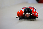 14 December 2007: Zach Lund, racing for the USA, starts his first run at the FIBT World Cup Skeleton Competition at the Olympic Sports Complex on Mount Van Hovenberg, at Lake Placid, New York, USA...Mandatory Photo Credit: Ed Wolfstein Photo