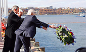 New York, NY - November 11, 2008 -- United States President President George W. Bush lays a ceremonial wreath with former astronauts Scott Carpenter and Buzz Aldrin at the rededication ceremony of the Intrepid Sea, Air and Space Museum in New York City on Tuesday, November 11, 2008.<br /> Credit: John Angelillo - Pool via CNP