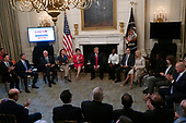 United States President Donald J. Trump hosts a one year celebration of the Pledge to America's Workers at the White House in Washington D.C., U.S. on July 25, 2019.<br /> <br /> Credit: Stefani Reynolds / CNP