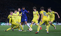 Chelsea's Ruben Loftus-Cheek takes on the BATE Borisov defence<br /> <br /> Photographer Rob Newell/CameraSport<br /> <br /> UEFA Europa League Group L - Chelsea v FC BATE Borisov - Thursday 25th October - Stamford Bridge - London<br />  <br /> World Copyright © 2018 CameraSport. All rights reserved. 43 Linden Ave. Countesthorpe. Leicester. England. LE8 5PG - Tel: +44 (0) 116 277 4147 - admin@camerasport.com - www.camerasport.com