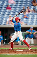 Clearwater Threshers third baseman Luke Williams (9) at bat during a game against the St. Lucie Mets on August 11, 2018 at Spectrum Field in Clearwater, Florida.  St. Lucie defeated Clearwater 11-0.  (Mike Janes/Four Seam Images)